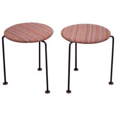 Pair of Mid-Century Modern Three-Legged Wrought Iron Low Stools
