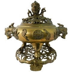 Large Oriental Incense Burner Bronze Censor, 19th Century