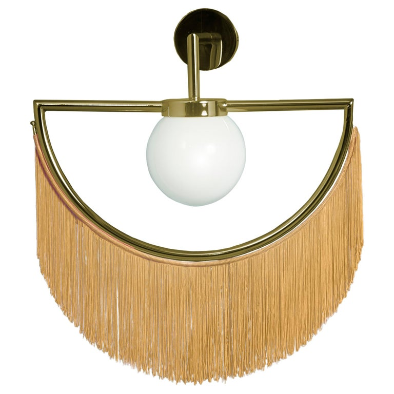 Wink Gold-Plated Wall Lamp with Yellow Fringes For Sale