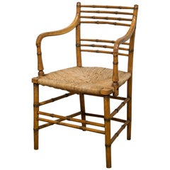 18th-19th Century Regency Faux Bamboo Armchair, circa 1790-1800