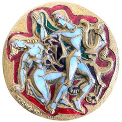 """Eurydice and Orpheus,"" Midcentury Enameled Bronze Rondel with Nudes, France"
