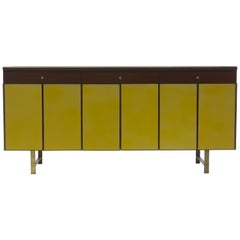 Credenza in Yellow leather and Mahogany by Paul McCobb for Calvin