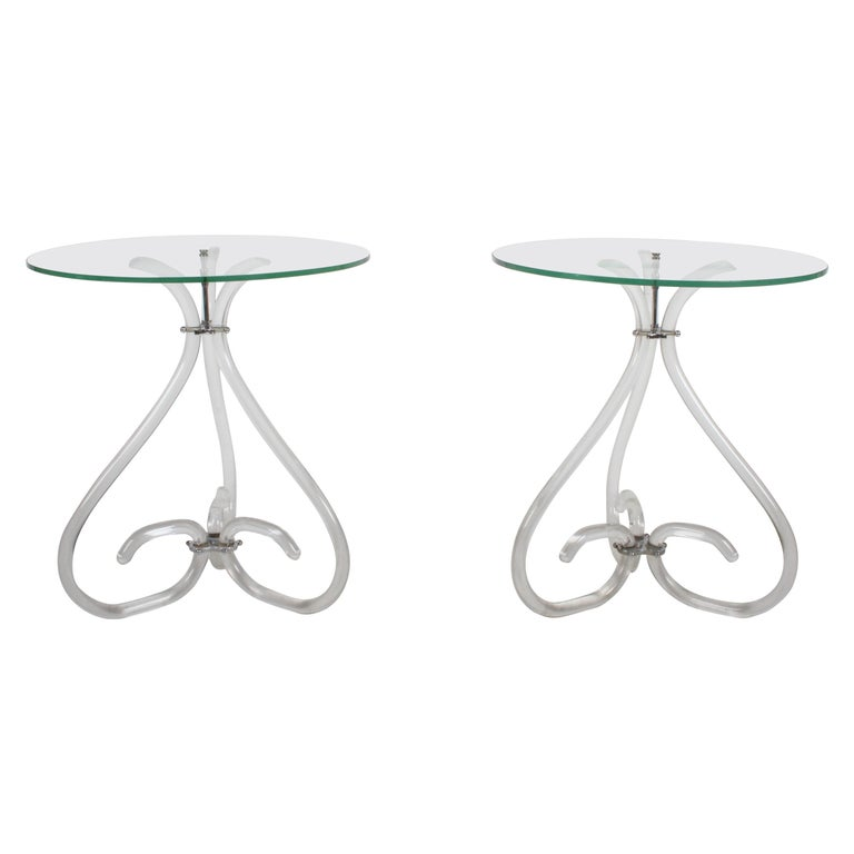 Pair of Vintage Lucite and Glass Side Tables in the Style of Dorothy Thorpe For Sale