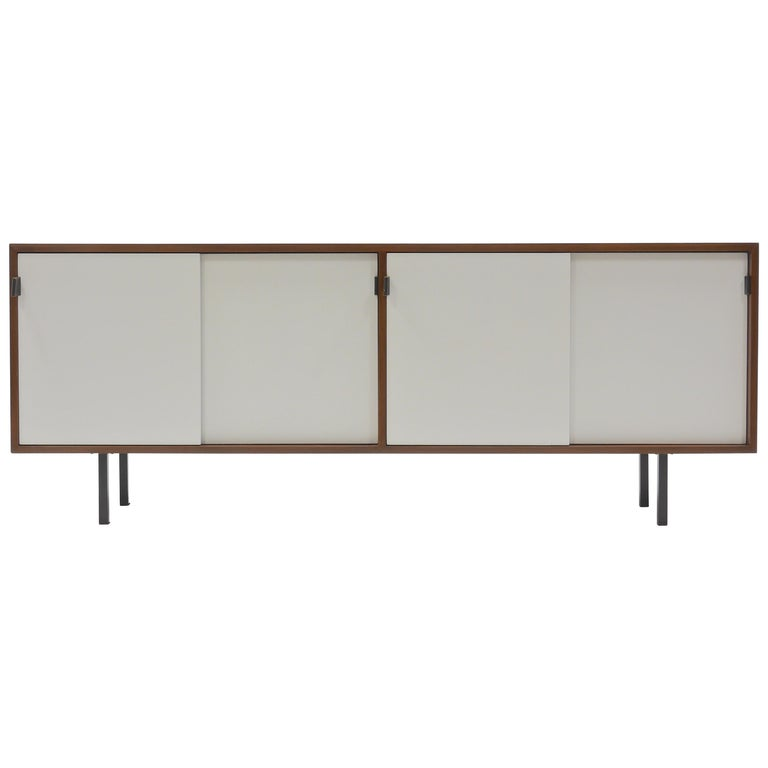 Credenza in Walnut and White Lacquer by Florence Knoll For Sale
