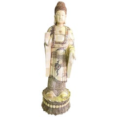 Chinese Carved Bone Figure Sculpture of Standing Buddha
