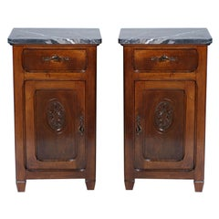 Art Nouveau Pair of Nightstands with Marble Top, Italy circa 1900, Carved Walnut