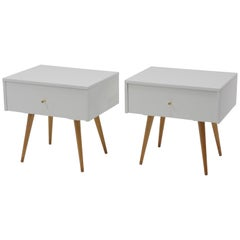 Nightstands in White Lacquer by Paul McCobb