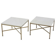 Pair of Tables in Brass and Marble by Paul McCobb for Calvin