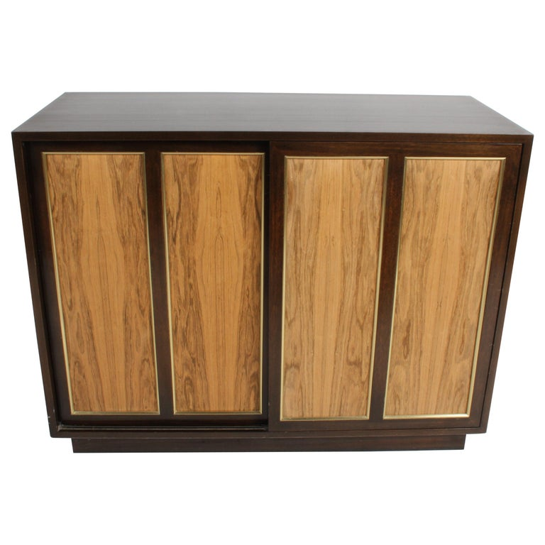 Harvey Probber Rosewood, Brass and Mahogany Dresser For Sale