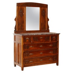 Art Nouveau Chest of Drawers with Marble Top, Italy, circa 1900, Beveled Mirror