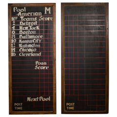 Pair of Early 20th Century Antique Chalkboard Pool Hall Scoreboards, circa 1940