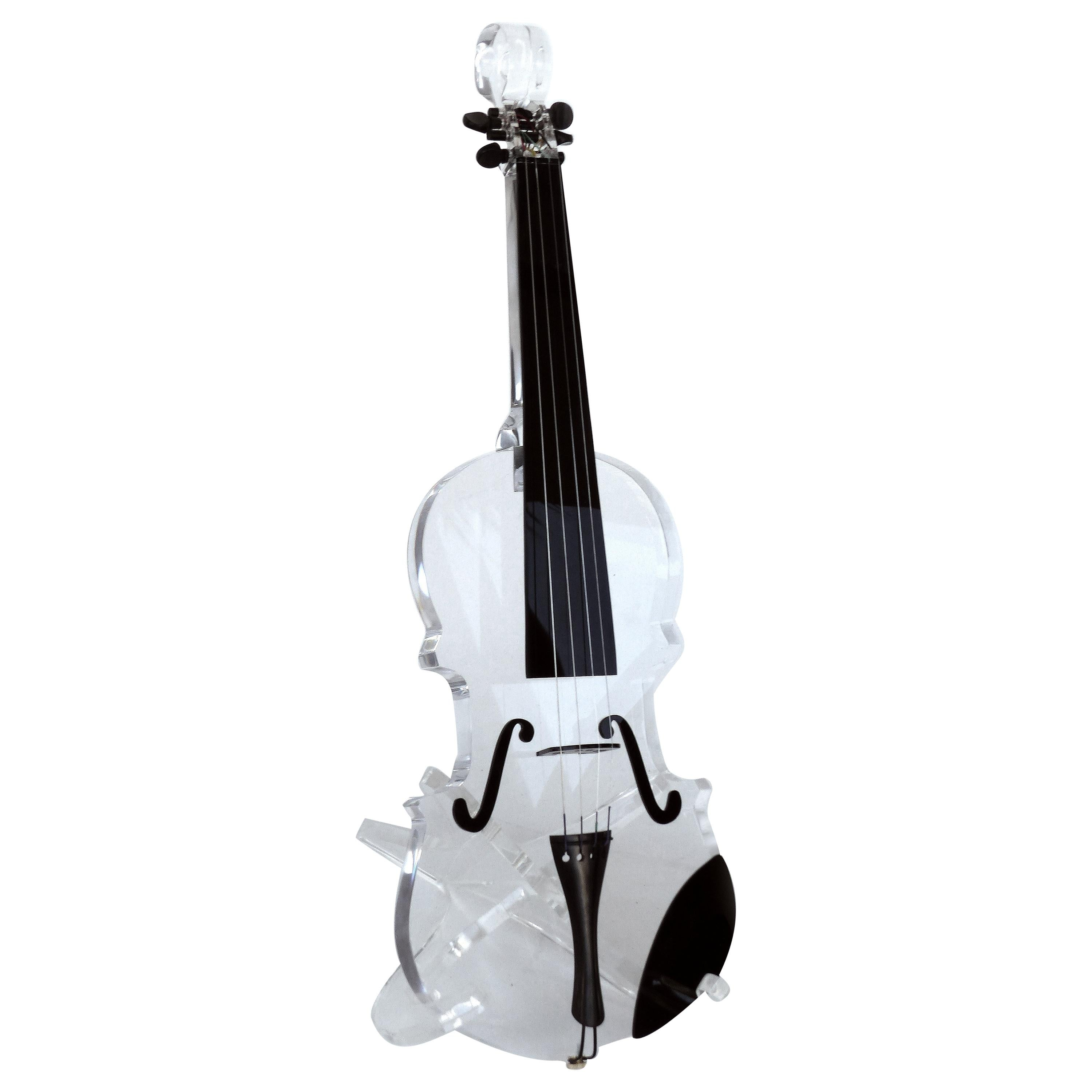 Custom Life-Size Lucite Violin Sculpture on Stand