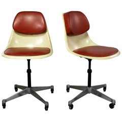Eames Herman Miller PSCC-A-4 Pivoting Task Shell Chair Pair Contract Base Castor