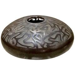 Black Deco/Moderne Cameo Glass Vase