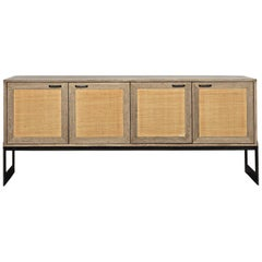 1940s French Style Woven Rattan Buffet Handcrafted in Solid Walnut