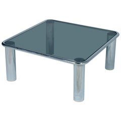 Mid-Century Modern Chrome Coffee Table Glass Fumè Top Mario Bellini  for Cassina