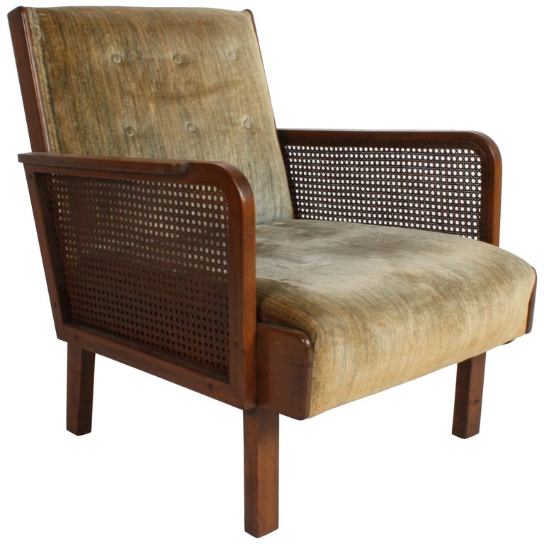 Vienna Secession Club Chair with Caned Panels For Sale