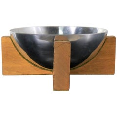 Stainless Steel Half Sphere Centerpiece Bowl on Mahogany Wood Base Midcentury