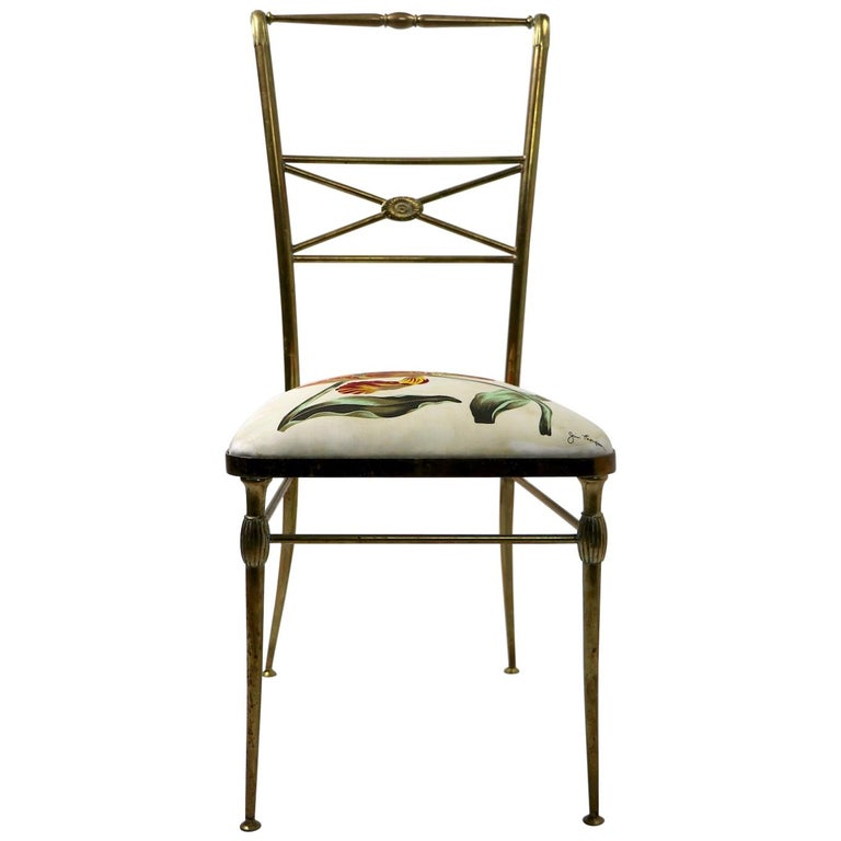 Neoclassic Italian Brass Chair by Chiavari For Sale