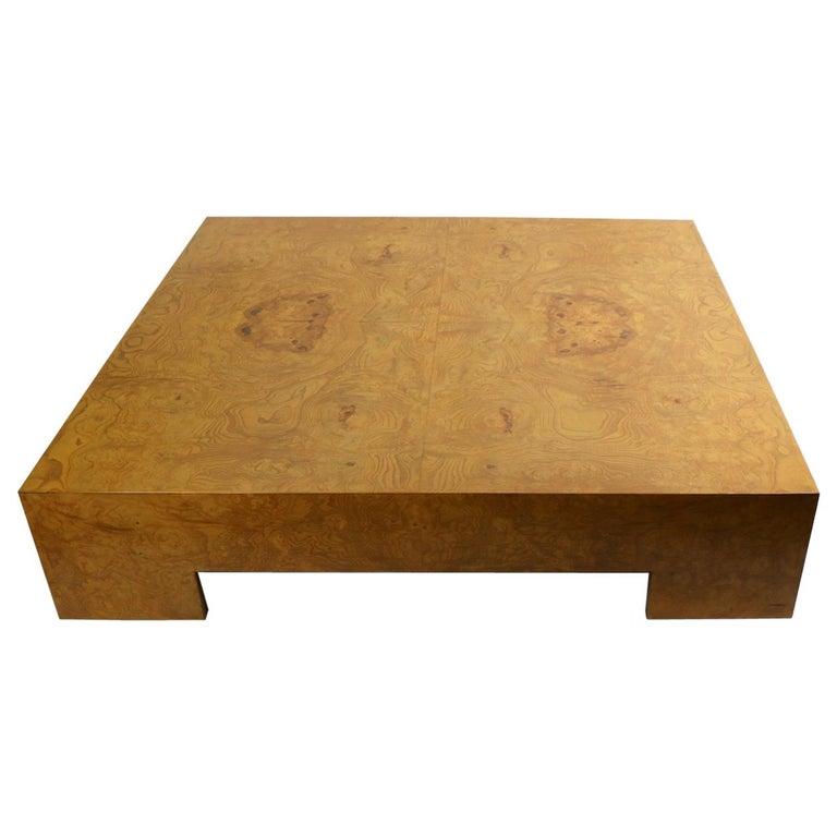Milo Baughman Burl Coffee Table For Sale