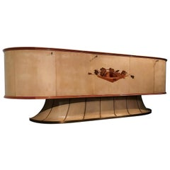 Italian Midcentury Parchment Sideboard with Inlay by Vittorio Dassi, 1940s