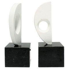 Pair of Black and White Abstract Sculptures or Bookends on Marble Bases