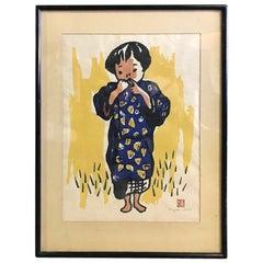 Kiyoshi Saito Japanese Woodblock Print of Village Girl