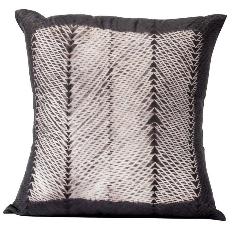 ARA Black Shibori  Silk Pillow For Sale