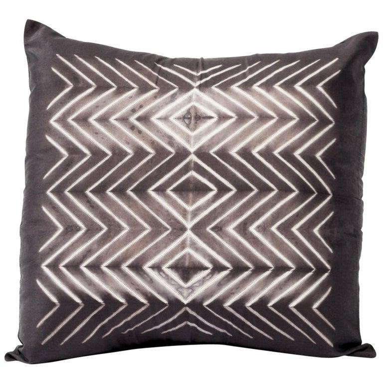 NAAMI Black Shibori Silk Pillow For Sale