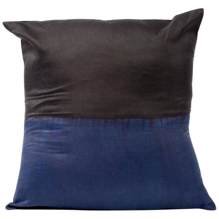 AAKAR MOR Color Block Silk Pillow in Indigo Black  For Sale