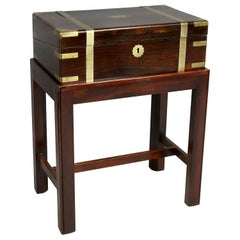Victorian Rosewood and Brass Banded Lap Desk Table