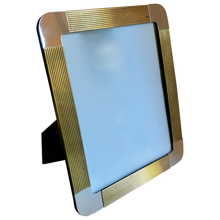 Brass and Chrome Picture Frame For Sale