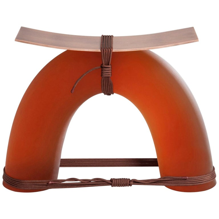Equilibrium Stool in Copper by Guglielmo Poletti For Sale