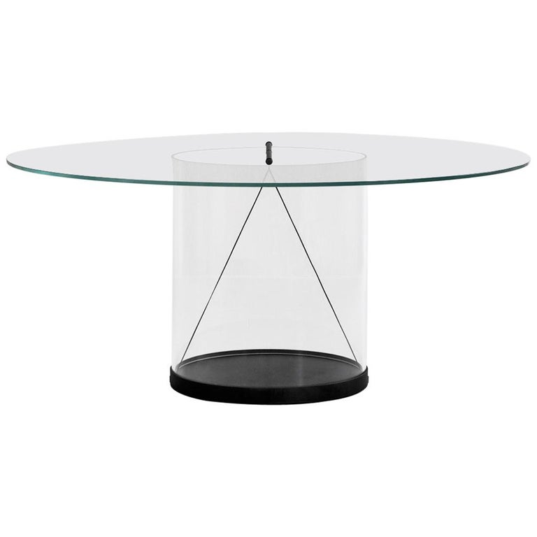 Equilibrium Round Table with Glass Top by Guglielmo Poletti For Sale