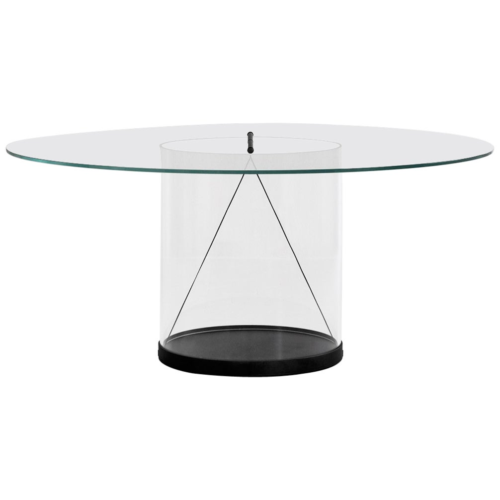 Equilibrium Round Table with Glass Top by Guglielmo Poletti