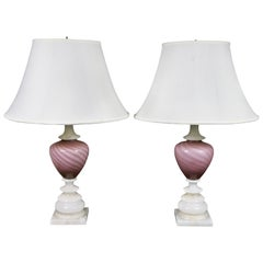 Pair of Alabaster and Opaline Glass Table Lamps