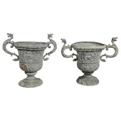 Matched Pair of Cast Lead Garden Urns