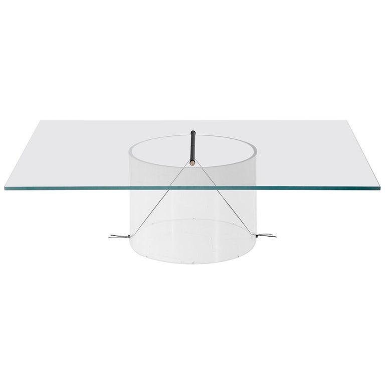 Equilibrium Low Table with Glass Top by Guglielmo Poletti For Sale