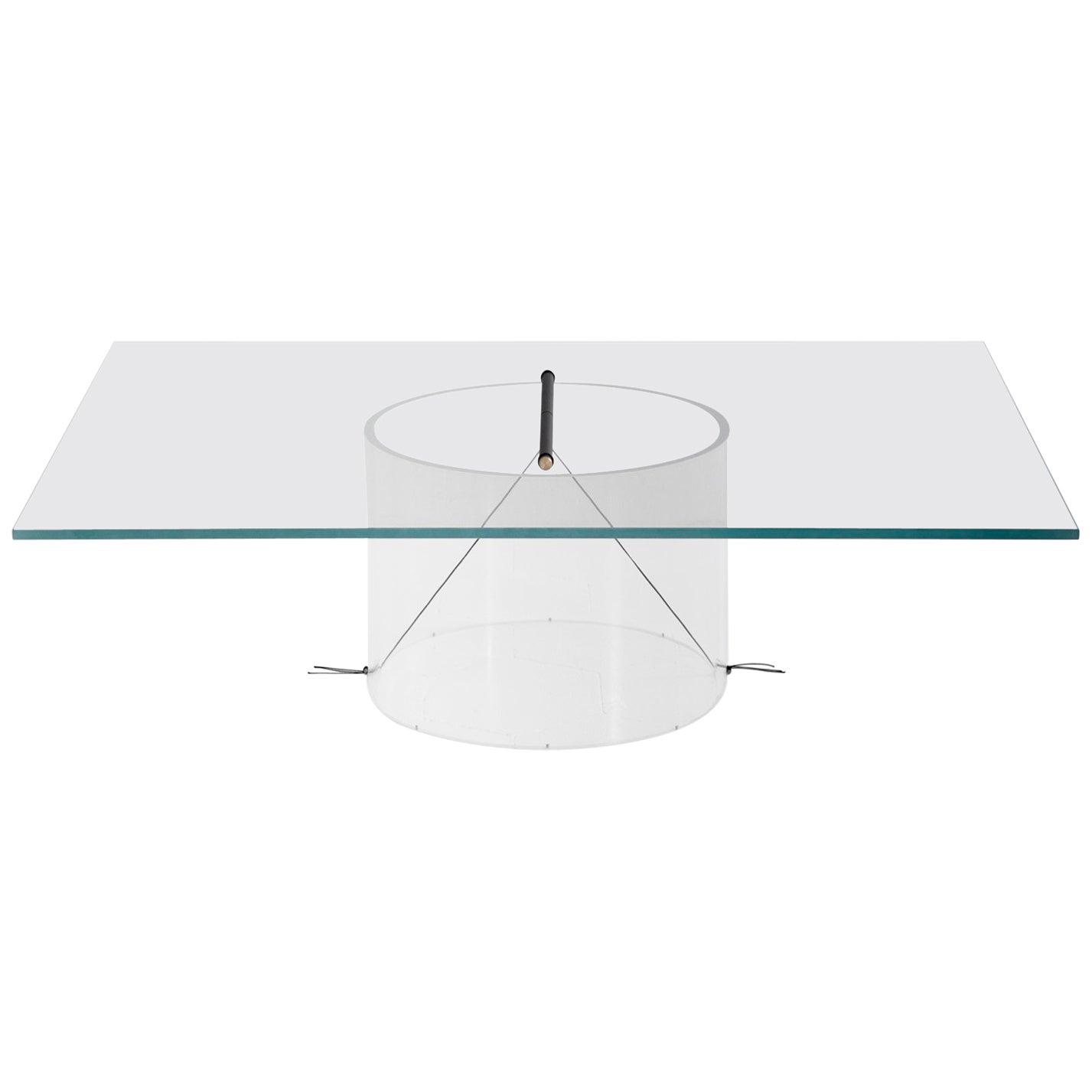 Equilibrium Low Table with Glass Top by Guglielmo Poletti