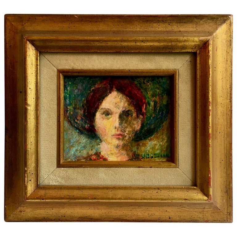 Signed Oil Painting of Girl in Gilt Frame For Sale