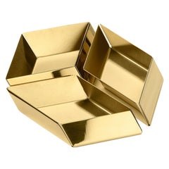 Ghidini 1961 Axonometry Small Cube Tray in Brass by Elisa Giovanni