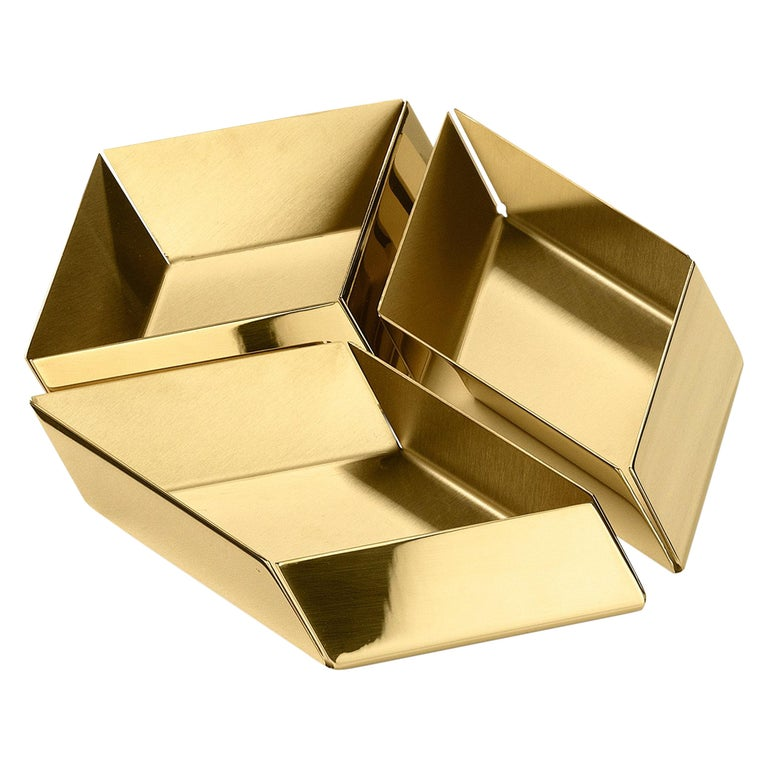 Ghidini 1961 Axonometry Small Cube Tray in Brass by Elisa Giovanni For Sale