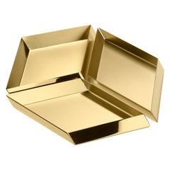 Ghidini 1961 Axonometry Large Cube Tray in Brass by Elisa Giovanni