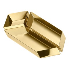 Ghidini 1961 Axonometry Small Parallelepiped Tray in Brass by Elisa Giovanni