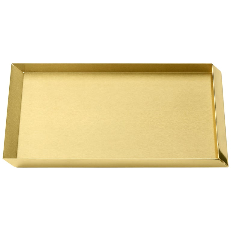 Ghidini 1961 Axonometry A4 Tray in Brass by Elisa Giovanni For Sale