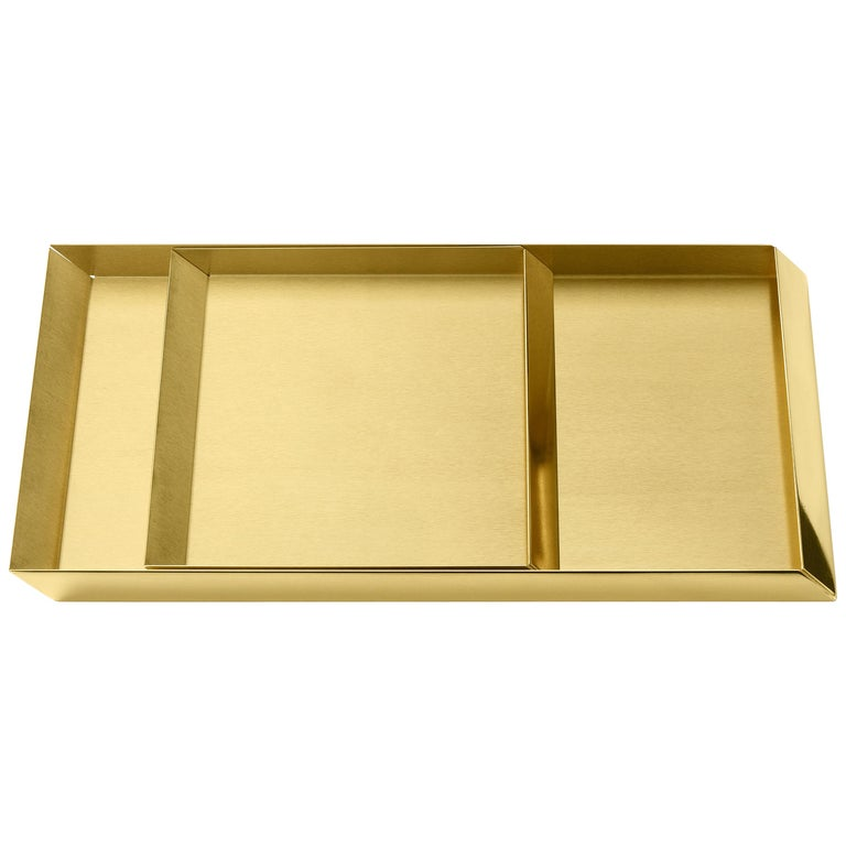 'Set of 2' Ghidini 1961 Axonometry Trays in Brass by Elisa Giovanni For Sale