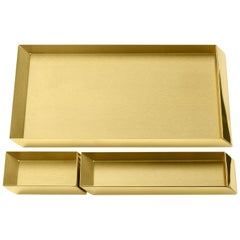 Set of 3 Ghidini 1961 Axonometry Trays in Brass by Elisa Giovanni