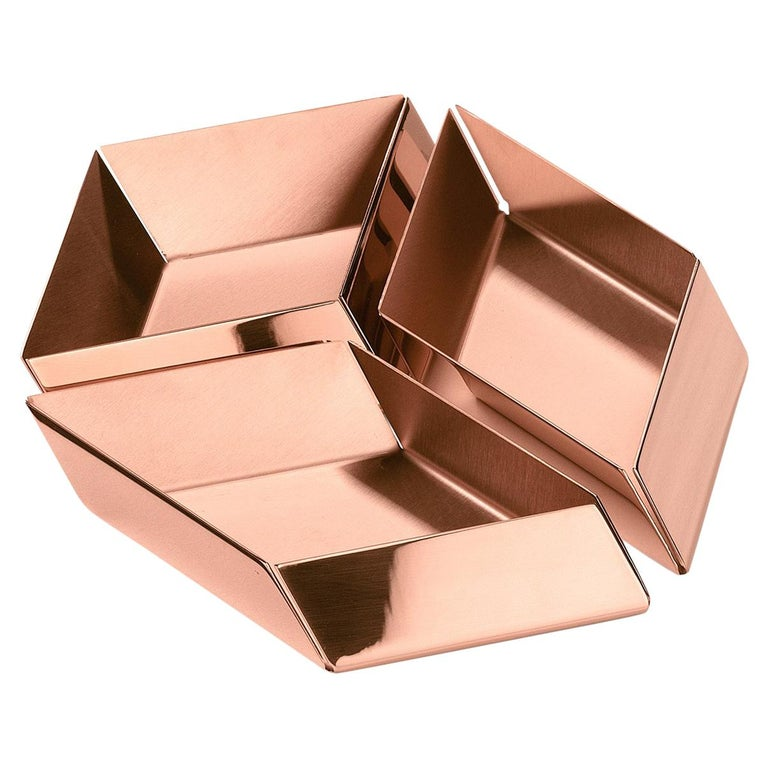 Ghidini 1961 Axonometry Small Cube Tray in Copper by Elisa Giovanni For Sale