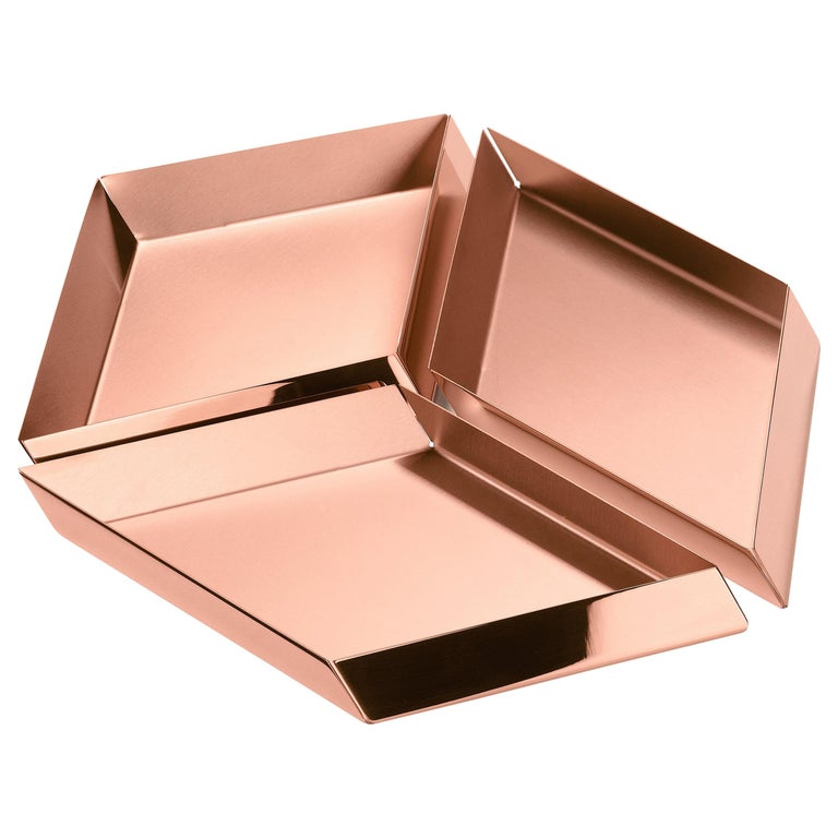Ghidini 1961 Axonometry Large Cube Tray in Copper by Elisa Giovanni For Sale