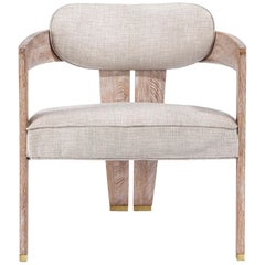 Handcrafted Whitened Oak Lounge Chair Featuring Cream Linen Seat & Brass Details
